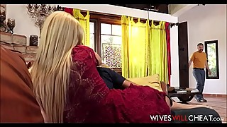 Aaliyah love blonde milf stepmom caught cheating by her husband and son