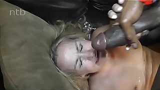 Blonde milf fucks a black cleaner and gets a facial. (name?)