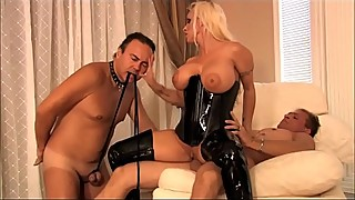 Busty milf wife in latex dominates loves, cuckold sex husband