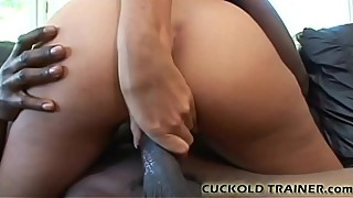 Look at her big black cock hit white pussy