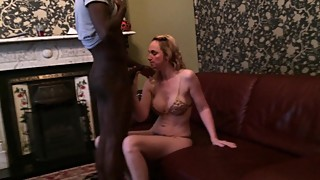 Mature blonde shy wife sucks her first black cock