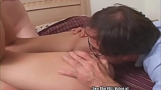 Skinny blonde wife in front of hubby