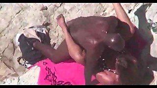 Husband films wife with black cock on the beach