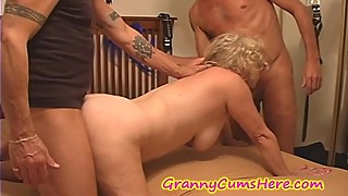 Nasty granny is used as a cum dump