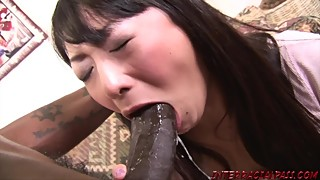 Asian pussy big black cock and swallows big black cock cum