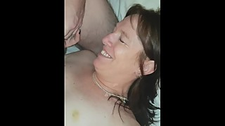The man beats him with a stick, woman, big cock, facial