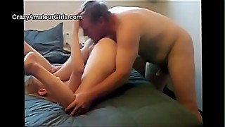 Amateur women, old man, young woman sharing a man to do