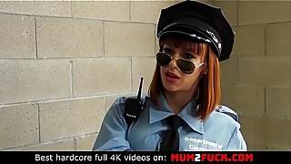 Sexy cougar nina new police uniform in cheating husband with two prisoners