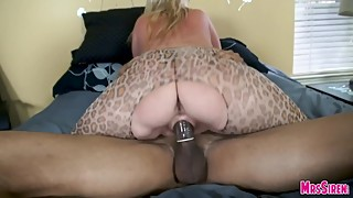 Wife threesome with leopard print jumpsuit