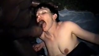 Short hair brunette wife riding a big black cock outside
