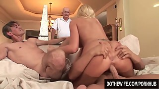 Blonde wife fucks by 2 people, and a great facial