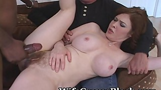 Creamy white pussy shared black lover