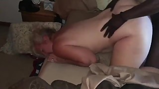 Slutwife fucks herself from behind with big black cock