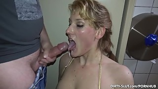 Blonde wife sucking many strangers in the men in the room