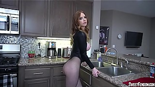Big breasts red head wife kiss with cum cuckold