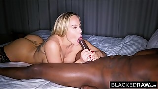 Blackedraw a trophy wife fucks a big black cock and calls her husband