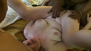 Two big black cocks fuck wife