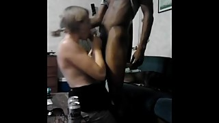 During the recording sessions of her husband, hotwife big black sucks cock