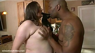 Chubby white housewife fucks in the kitchen