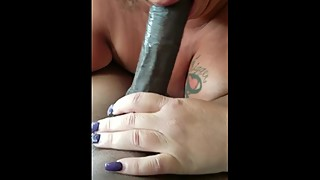 Mature wife sucks big black cock