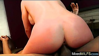 Interracial sex tape with a huge black cock in wet milf holes, in english-19