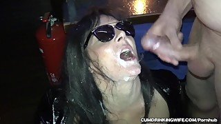 Slutwife gangbanged by over 20 people in the bar