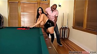 Sexy plump wife fucks big black cock after losing pool game