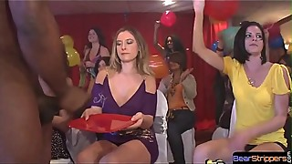 Cfnm babes have fun with black stripper