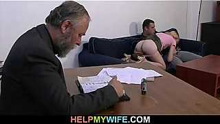 The old man pays to fuck his young wife