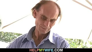 Old fart watches his young wife gets fucked