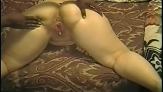 Husband coaches wife while she gets pounded up doggy style big cock