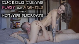 Young hotwife - cuckold cleans used to suck ass with the tongues, after fuckdate with 4k