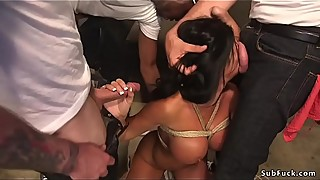 Huge tits wife banged by group of bdsm