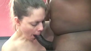 Curvy housewife natasha swallows a hard black cock