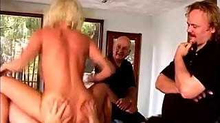 Perv makes his friends fuck stunning blonde wife on pool table