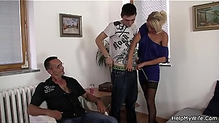 The old man invited him to fuck his young wife blonde