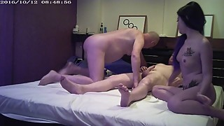 Old cuckold watches his young wife with a big cock man