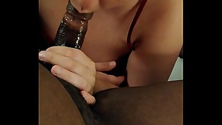 Drunk slut, milf, wife deep throat and gagging a big black cock in a hotel room on vacation