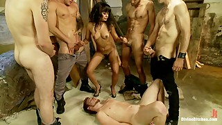 Poor husband by the wife with gangbang