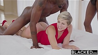 Masked housewife fucks two big black cock