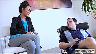 Pathetic husband watches his wife fucked by a therapist