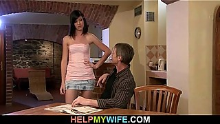 The old man watches his wife fucked