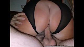 Wife's big ass bounce on my friend's cock - 2 dicks in 1 mouth