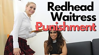 To punish the redhead waitress for a man and a woman for spilling drinks