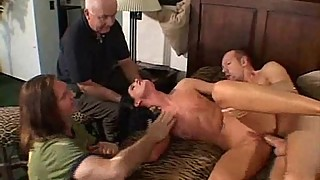 Wild brunette amateur swinger milf takes on two