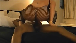 Blonde milf wife fucks big black cock in stockings